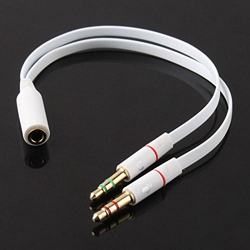JIEPING 3.5mm Female to 2 Male connection to any 3.5mm stereo headphone With Mic,White