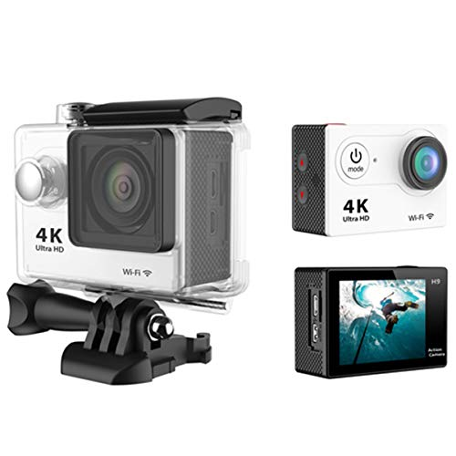 Action Camera,Yeawooh Full HD 4K Sports Camera WiFi Waterproof 170 Degree Ultra Wide+2.4G Remote Control & Support Mobile Connection Live Stream (White)