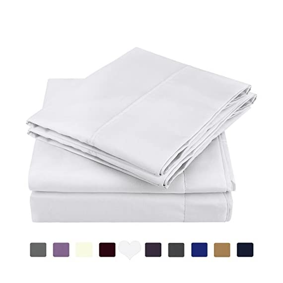"""HOMEIDEAS Bed Sheets Set Extra Soft Brushed Microfiber 1800 Bedding Sheets - Deep Pocket, Hypoallergenic, Wrinkle & Fade Free - 4 Piece(Queen,White) - FIVE-STAR HOTEL SUPER SOFT AND COOLING FEELING : 1800 Bedding SUPER SOFT Sheets - Fine Workmanship & Smooth feeling makes you dreams sweet night and wake up full of energy. These luxuries sheets stay fresh, cool, breathable during hot nights - enhance the quality of sleeping of you and your family and ready for a new day. PREMIUM FABRIC & TOP QUALITY CONSTRUCTION : Made of highest quality DOUBLE BRUSHED MICROFIBER, HOMEIDEAS sheets are softer and more breathable than Egyptian Cotton which is more expensive. 100% microfiber fabrics are woven tightly, providing extra strength and durability. This fabric has desirable properties such as stain resistance, breathing ability, wrinkle resistance. DEEP POCKETS PERFECTLY FIT YOUR BED EVERYTIME : Queen Size Luxury 4 Piece Bed Sheets Set - 1 Flat sheet (90""""x 102""""), 1 Fitted sheet (60""""x 80""""), 2 Pillowcases (20.5""""x 31""""). Deep pocket fitted sheet with elastic all around to ensure sheets stays on bed tightly. Fits mattresses up to 15"""". - sheet-sets, bedroom-sheets-comforters, bedroom - 41cklLw0J5L. SS570  -"""