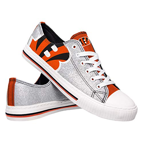 FOCO NFL Cincinnati Bengals Womens Glitter Low Top Canvas Shoesglitter Low Top Canvas Shoes, Team Color, ()