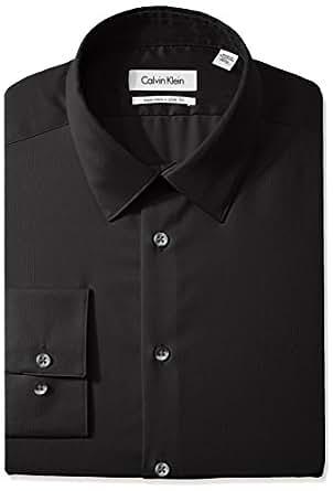 "Calvin Klein Men's Non Iron Slim Fit Solid Point Collar Dress Shirt, Black, 14"" Neck 32""-33"" Sleeve"