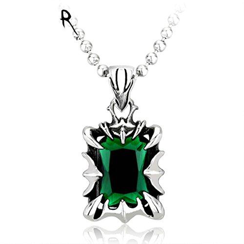 Beydodo Collar de Hombre Acero Inoxidable Garra de Dragón Piedra Esmeralda Colgante Gotico Hombre