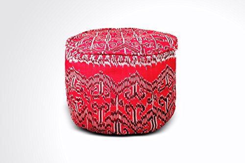 Round Ikat Pouf Ottoman, Red. Ethnic, Boho Pouf, Floor Cushion. Handwoven in Indonesia. 20''W x 13.5''H by Kasih Coop