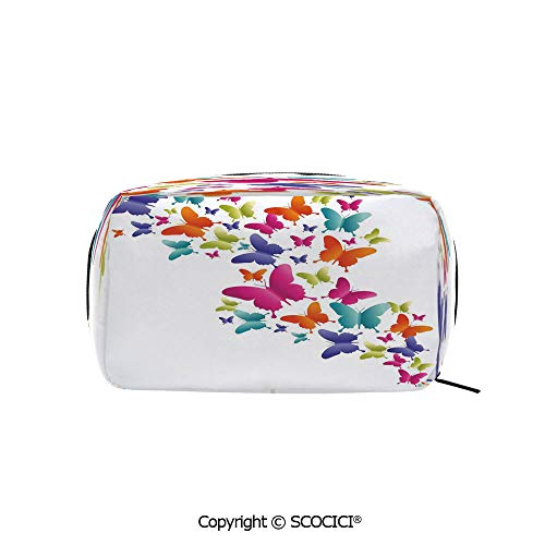 Rectangle Beauty Girl And Women Cosmetic Bags Nature Inspired Butterflies in Various Sizes Rainbow Colors Natural Vibes Good Mood Decorative Printed Storage Bags for Girls Travel