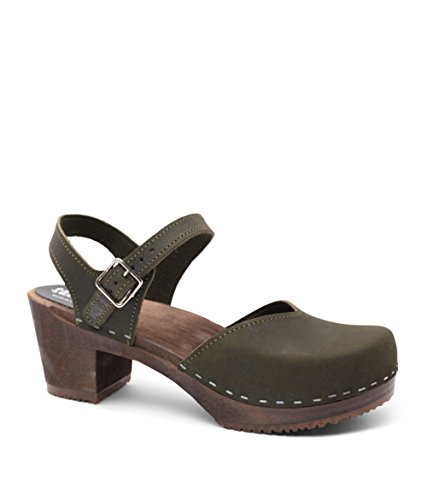 Swedish Wooden High Heel Clog Sandals for Women   Victoria in Olive by Sandgrens, size US 8 EU 38 by Sandgrens