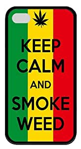 IMARTCASE iPhone 4S Case, Keep Calm And Smoke Weed Durable Case Cover for Apple iPhone 4S/5 TPU Black