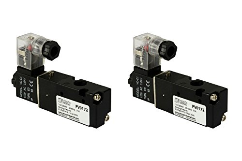 2 Qty 110V AC Solenoid Air Pneumatic Control Pilot Valve 3 Port 3 Way 2 Position 1/8'' NPT by Temco