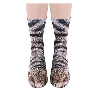 Unisex Adult Cute Kitty Cat Paw Socks, Animal Paw 3D Simulation Print Crew Socks, For Men,Women1 Pairs