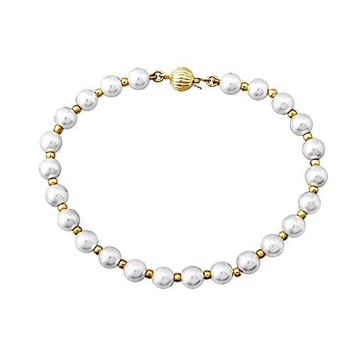 Bracelet 18k perles de coquillage d'or 7mm. [AA6664]