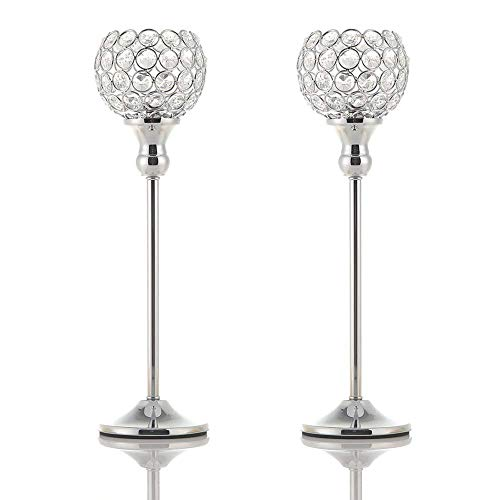 VINCIGANT Silver Crystal Pillar Candle Holders Coffee Table Decorative Centerpiece for Wedding Candlelight Dinner Vases,Anniversary Thanksgiving ()