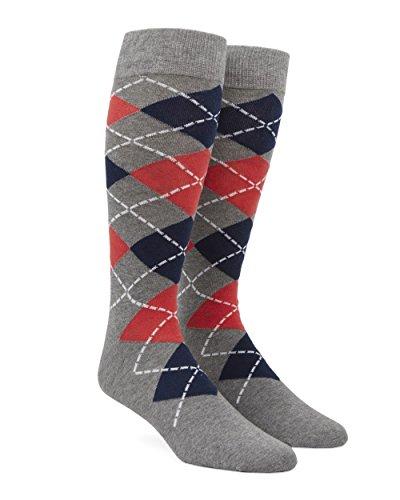 The Tie Bar Argyle Coral Men's Cotton Blend Dress Socks