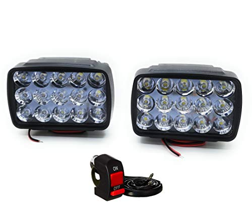 AUTOPOWERZ ABS Plastic LED Fog Lights for Bikes and Cars High Power, Heavy clamp and Strong (15 LED Pair with Switch)