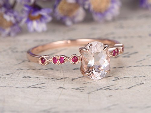 (6x8mm Oval Cut VS Natural Pink Morganite 14k Rose Gold Claw Prong Engagement Ring Marquise Milgrain Red Ruby Art Deco Half Eternity Stackable Stacking Matching Bridal Wedding Band Promise Size 4-9)