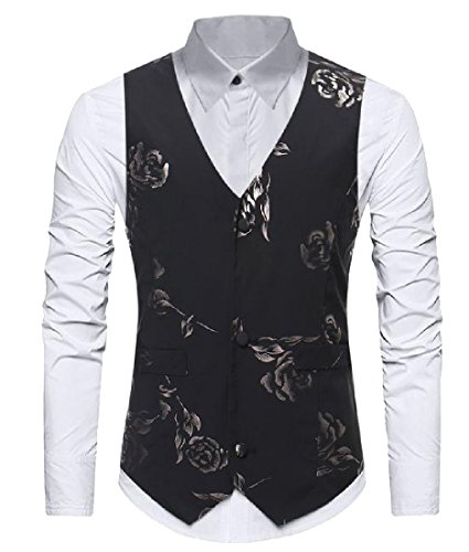 ANDYOU-Men Bronzing Floral Printed Casual 3 Button Separate Vest Black XS