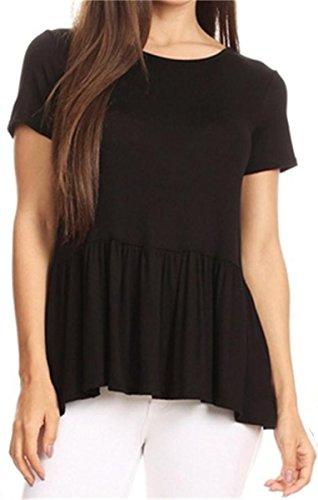 GOCHIC Women's Crew Neck Short Sleeve Ruffle Hem Peplum Tops Shirts Black Large