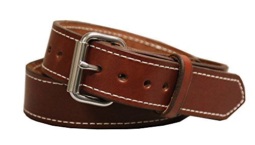 "Exos Gun Belt, English Bridle Leather, 14 Ounce - Stainless Steel Hardware - Handmade in The USA (40 - for 36"" Waist, Brown)"