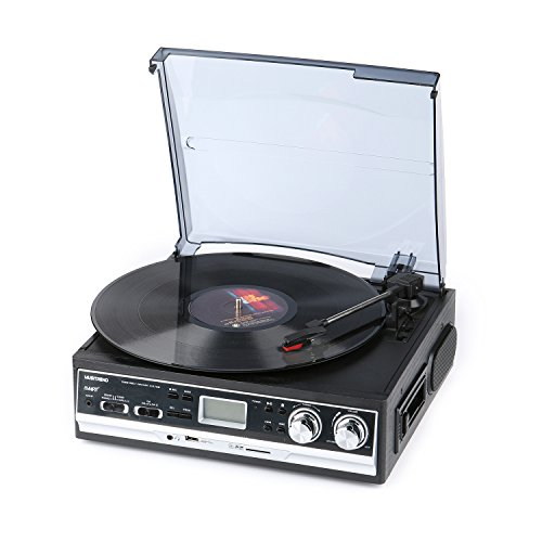 Price comparison product image Musitrend Record Player Belt-Drive 3 Speed Stereo Turntable with Built in Speaker LCD Display Supports USB / SD encoding to MP3,  Cassette WMA Playback,  AM / FM Radio,  Aux in and RCA Output,  Headphone Jack