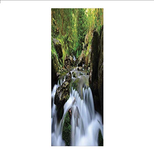 3D Decorative Film Privacy Window Film No Glue,Nature,National Park with Cascade Flowing into The Woods Mother Earth Image,Fern Green Dark Grey White,for Home&Office