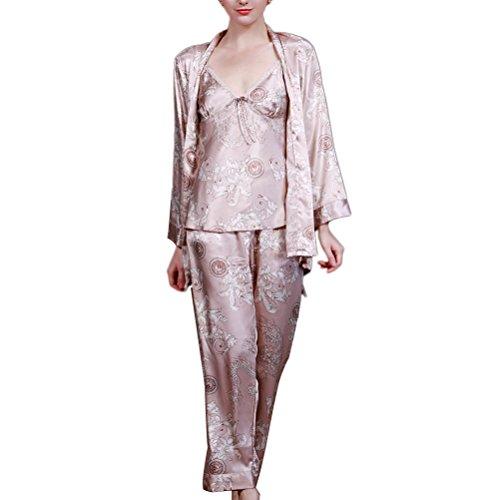 Zhhlaixing Fashion TZ013 Unisex Nightwear Satin Dressing Gown Robe Kimono Sleepwear Lingerie Light Tan