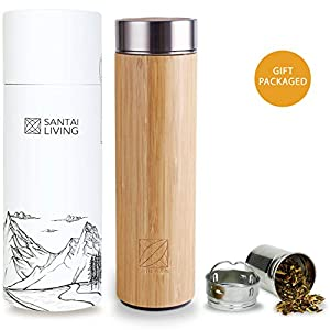 Bamboo Vacuum Insulated Bottle - Thermo with Tea Infuser & Strainer | BPA Free Stainless Steel Tumbler, Fruit Infuser | Double Walled Tumbler Water Bottle | Travel Mug 84