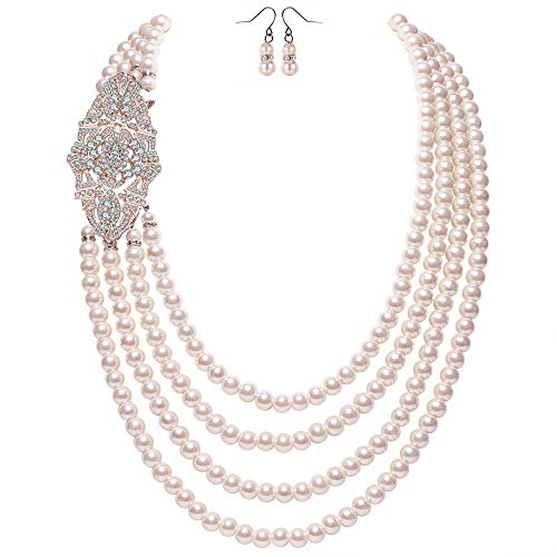 Coucoland Audrey Hepburn Inspired Pearl Necklace Inspired by Breakfast at Tiffany's 1920s Gatsby Imitation Pearls Necklace with Crystal Brooch Bridal Pearl Jewelry Sets (Rose Gold 5)
