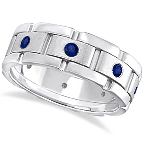 Mens Wide Band Blue Sapphie Ring Eternity Wedding Band 18kt White Gold (0.80ct) -