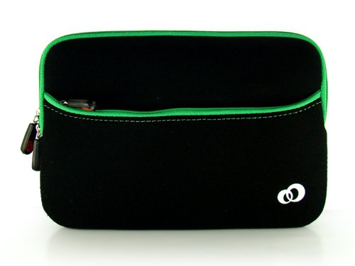 Green w/ Black Slim Design Soft Neoprene Carrying Cover Case with extra pocket for Pandigital Novel 7'' Color Multimedia White eReader + Indlues a 4-Inch Determination Hand Strap + Includes a Crystal Clear High Quality HD Noise Filter Ear buds Earphones He