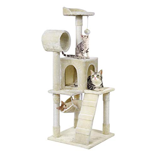 Yaheetech Cat Tree Tower Condo with Sisal Scratching Posts Perches Hammock 51 in. High