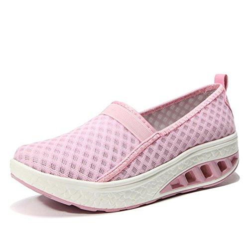 CAI Zapatos de Malla Casuales de la Sacudida de Las Mujeres 2018 Zapatos de Malla Transpirables de la Sacudida Zapatos de Las señoras de la talón de la Cuesta del tamaño Grande