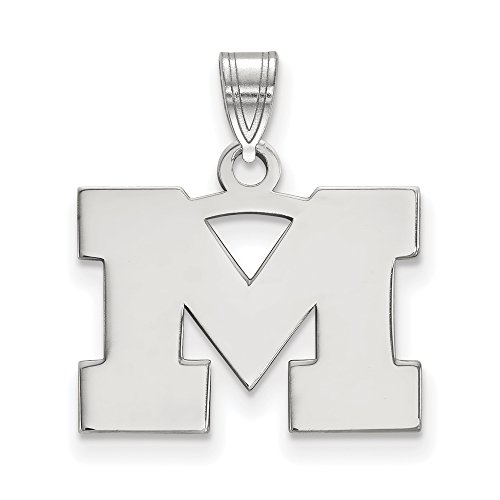Michigan Small (1/2 Inch) Pendant (14k White Gold) by LogoArt