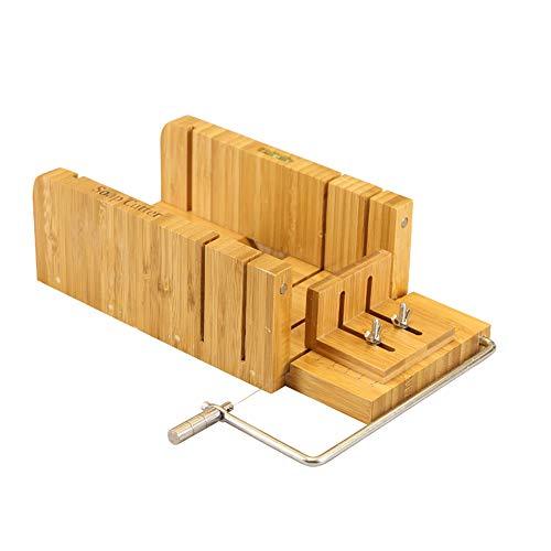 Joyeee Multi-function Adjustable Bamboo Soap Mold Handmade Loaf Cutter Mold + Beveler Planer Wire Slicer for Making Loaf Cake Soap Cheese DIY Cutting Making, Cutter Peeler Slicer Home Tool Set