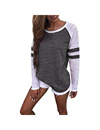 Susenstone Women Long Sleeve Stripe Splicing O-Neck Splicing Color Tops Shirt