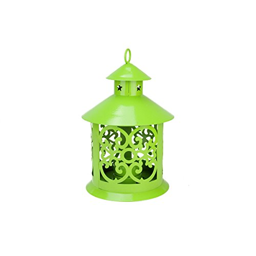 - Northlight Shiny Lime Green Votive or Tea Light Candle Holder Lantern with Star and Scroll Cutouts, 8