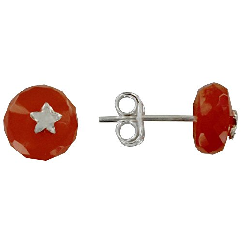 Les Poulettes Jewels - Sterling Silver Earrings Star and Faceted Pearl Red Orange (Onyx Star Earrings)