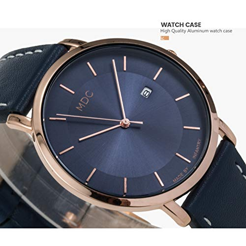 MDC Mens Minimalist Classic Analog Watch Blue Leather Ultra Thin Wrist Watches for Men with Date Dress Business Casual by MDC (Image #2)