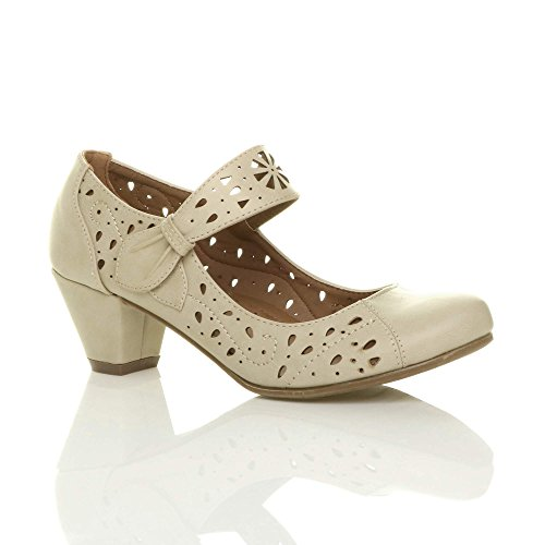 Court Out Shoes Cut (Ajvani Women's Mid Block Heel Mary Jane Cut Out Brogue Court Shoes Size 10 41)
