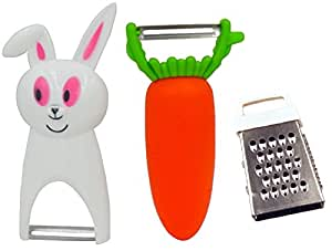 Llamamia Pack of 3 Peelers Zesters Graters,included Rabbit Peeler Carrot Peeler with Mini Garlic Grater