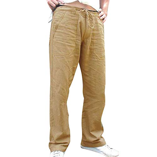 Men Linen Clothes Simayixx Men's Sports Pants Yoga Running Trouser Summer Loose Drawstring Pants Pockets -