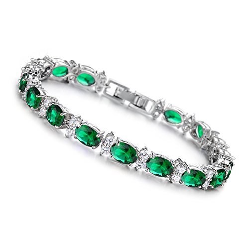 Green Oval Charm (Girl Era Elegant Silver Plated Oval-Cut Green Crystal Stone Tennis Bracelet Charm Link)