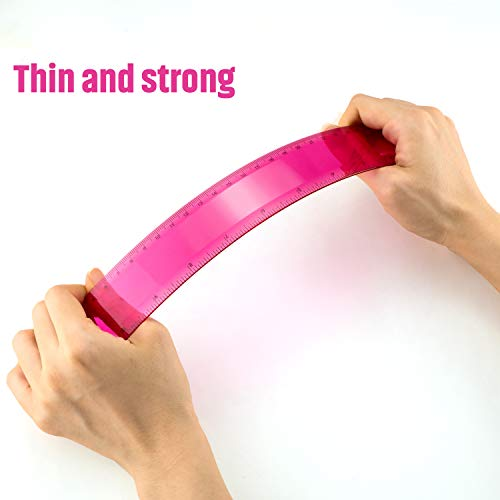 Plastic Ruler Straight Ruler Plastic Measuring Tool 12 Inches and 6 Inches, 2 Pieces (Rose Red)
