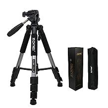 ZOMEI Q111 55-inch Aluminium Compact Lightweight Camera Travel Tripod with 1/4 Mount 3-Way PanHead for DSLR Canon Nikon Sony DV Video (Silver gray)