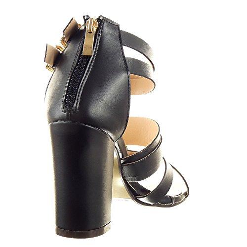 Sopily - Scarpe da Moda sandali scarpe decollete Gladiatore alla caviglia donna Tanga sexy fibbia Tacco a blocco 9.5 CM - Nero