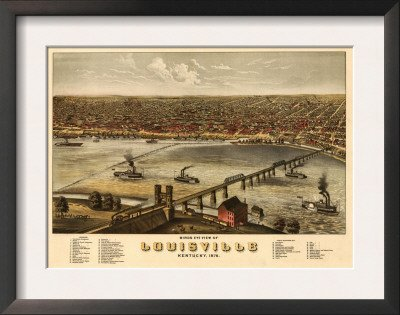 Louisville, Kentucky - Panoramic Map Framed Art Poster Print, 19x15