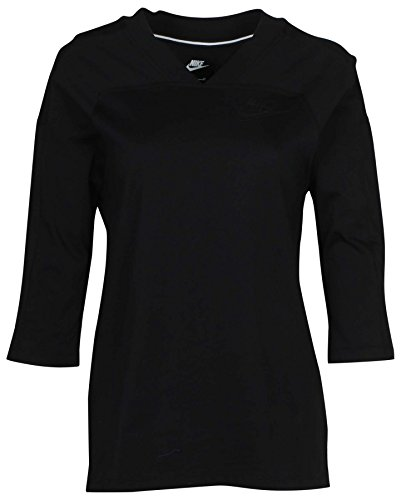 Nike Women's Just Do It 3/4 Sleeve Sport Casual Top-Black-Small ()