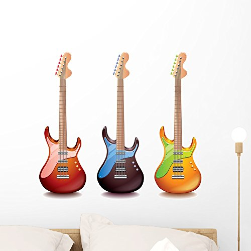 Wallmonkeys Electric Guitar Wall Decal Sticker Set Individual Peel and Stick Graphics on a (24 in H x 24 in W) Sticker Sheet WM364738