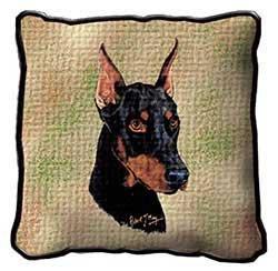 Doberman Pinscher Tapestry (Doberman Pillow - 17 x 17 Pillow)