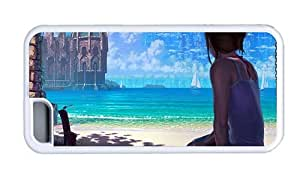 Hipster designer iPhone 5C cases Girl Sitting Beach TPU White for Apple iPhone 5C