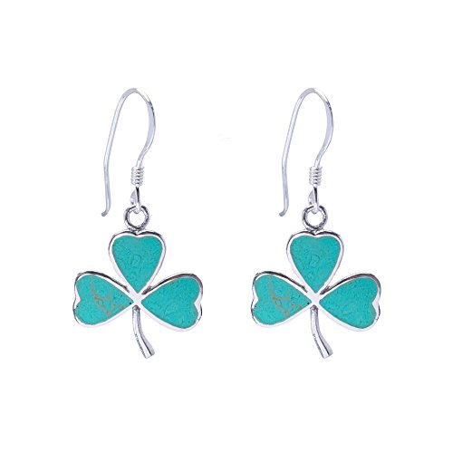 Silverly Women's .925 Sterling Silver Synthetic Turquoise Clover Leaf Club Dangle Earrings - Lucky Turquoise Earrings