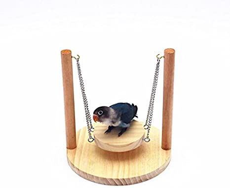 Hamster Swing Wooden Swing with Adjustable Hanging Chain for Mouse Chinchilla Gerbil and Hamster Nano Bed Hanging Hammock Cage Exercise Molar Toy