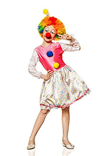 Kids Girls Circus Clown Halloween Costume Big Top Cutie Dress Up & Play Role (8-11 years, pink, white)